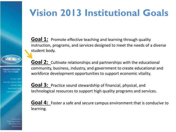 Vision 2013 Institutional Goals