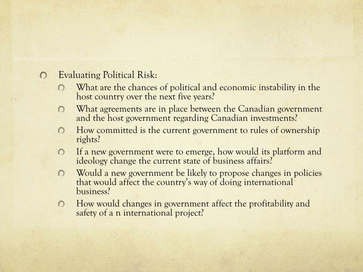 Evaluating Political Risk: