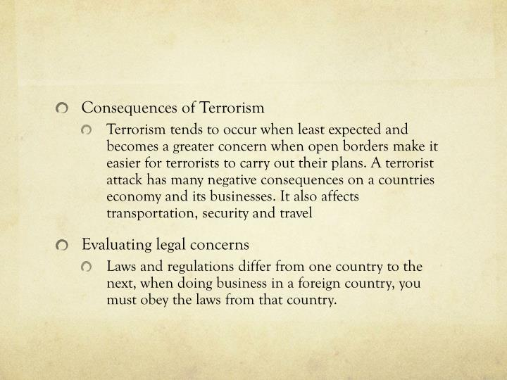 Consequences of Terrorism