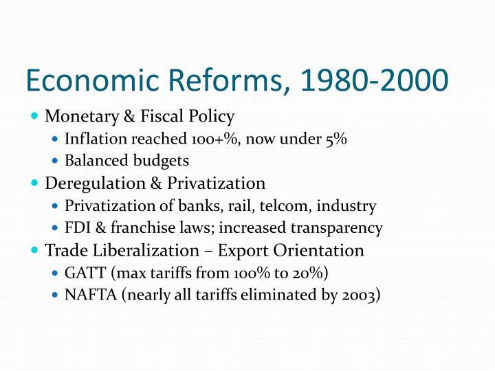 Economic Reforms, 1980-2000