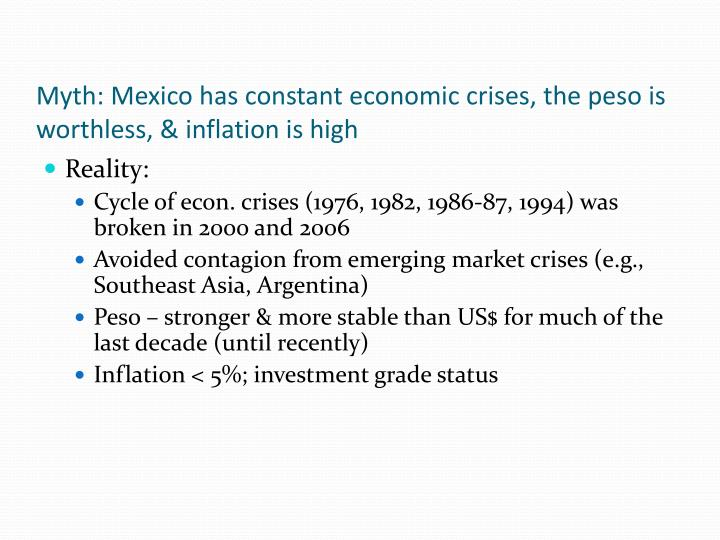 Myth: Mexico has constant economic crises, the peso is worthless, & inflation is high