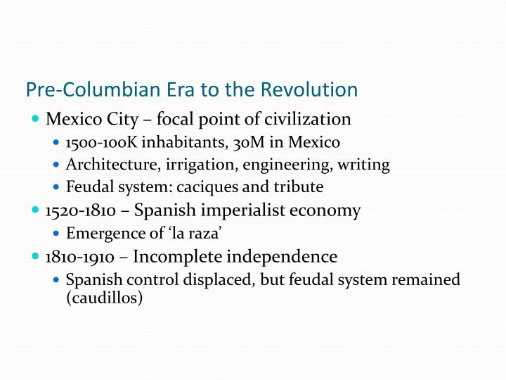 Pre-Columbian Era to the Revolution