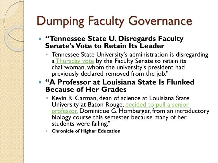 Dumping Faculty Governance