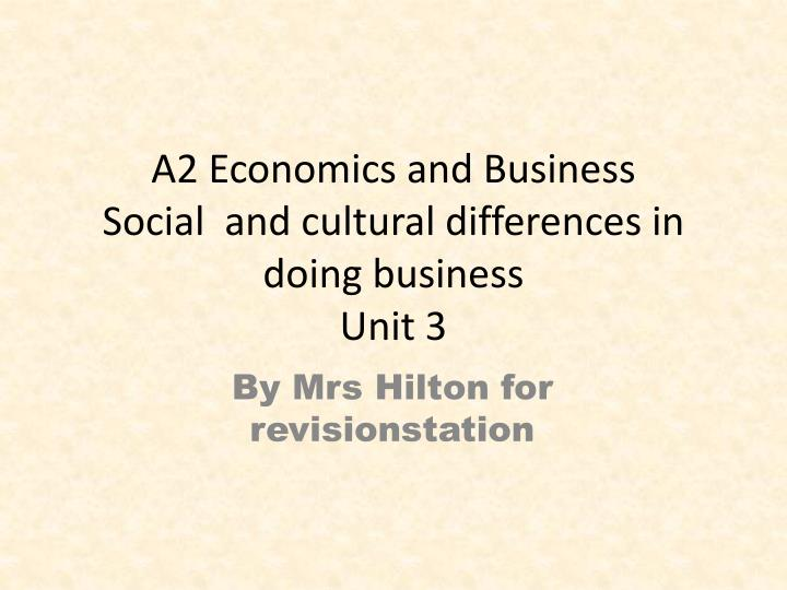 A2 Economics and Business