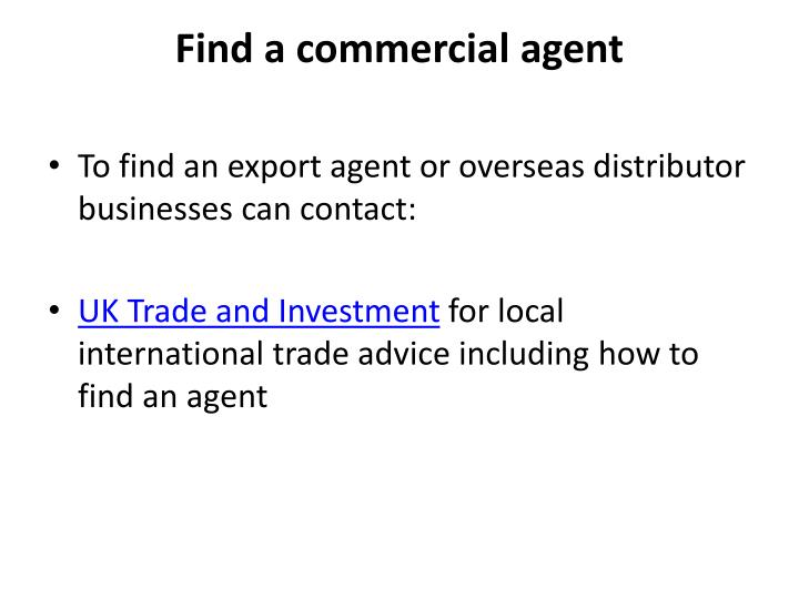 Find a commercial agent