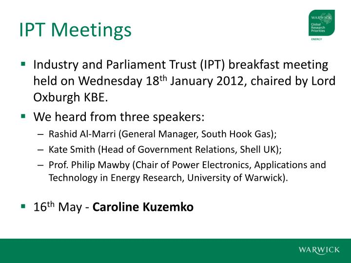 IPT Meetings