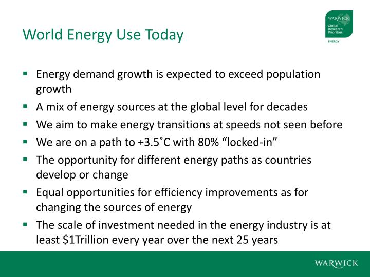 World Energy Use Today