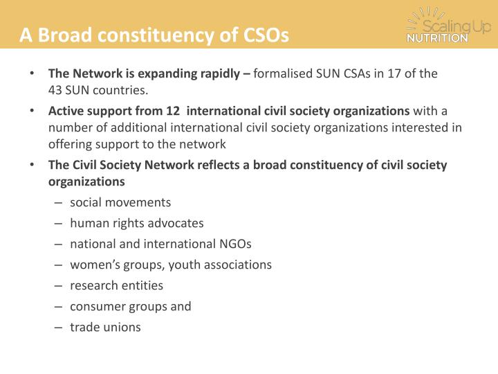 A Broad constituency of CSOs