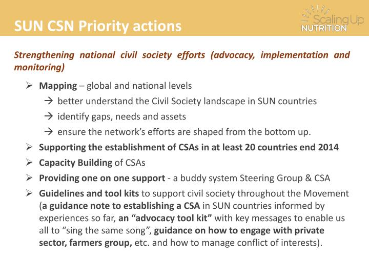 SUN CSN Priority actions