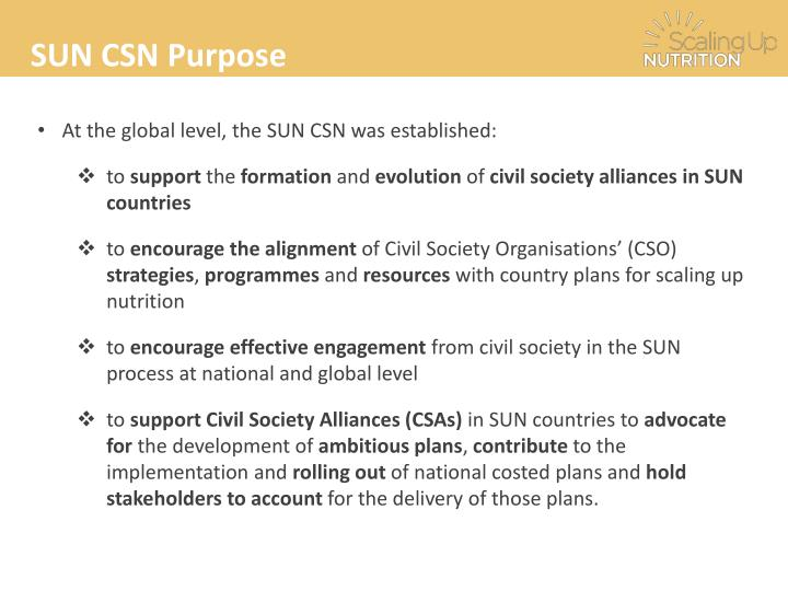 SUN CSN Purpose