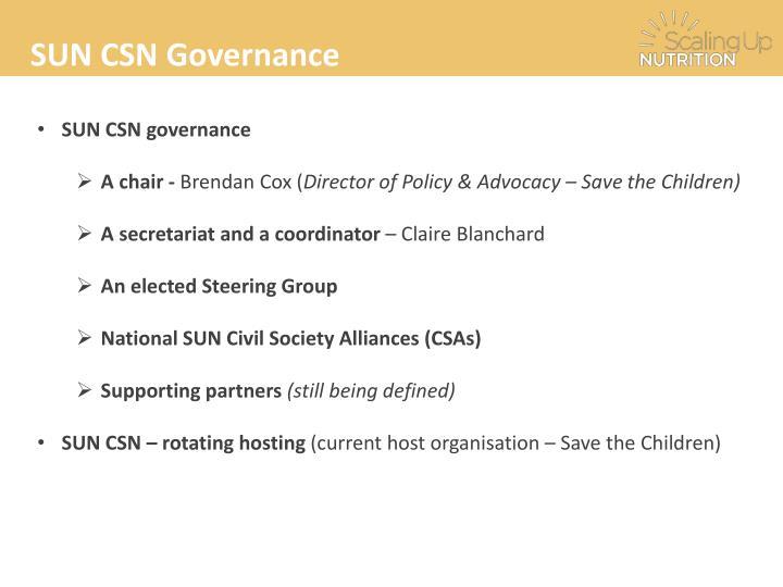 SUN CSN Governance
