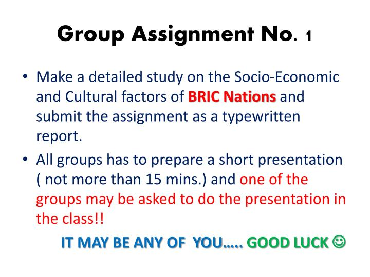 Group Assignment No. 1