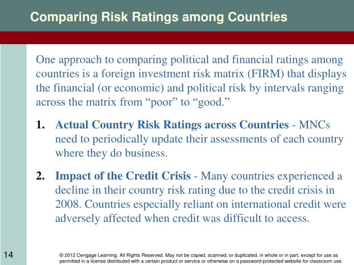 Comparing Risk Ratings among Countries