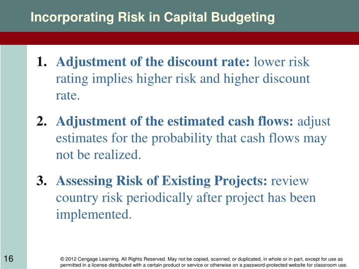Incorporating Risk in Capital Budgeting