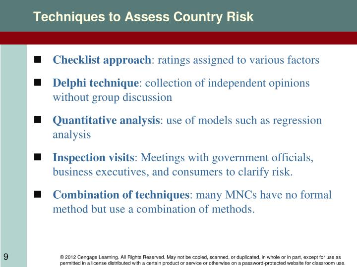 Techniques to Assess Country Risk