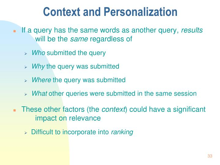 Context and Personalization