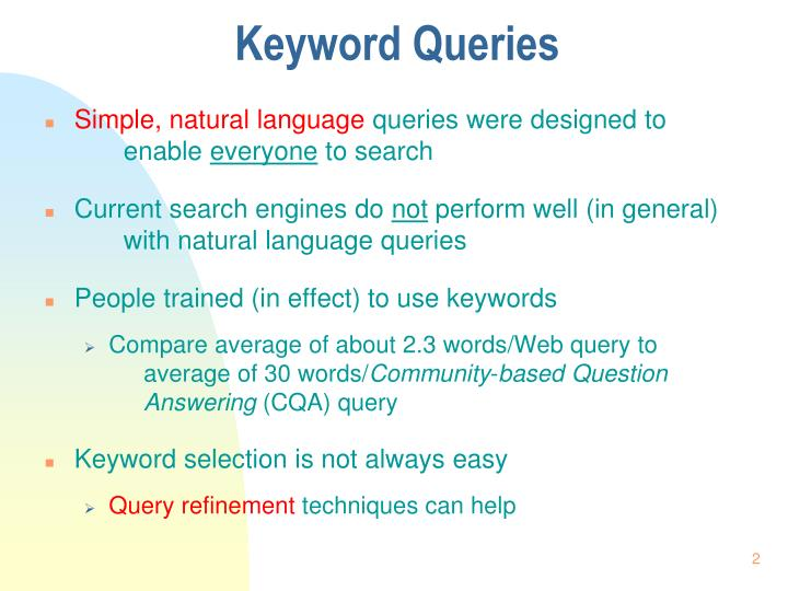 Keyword queries