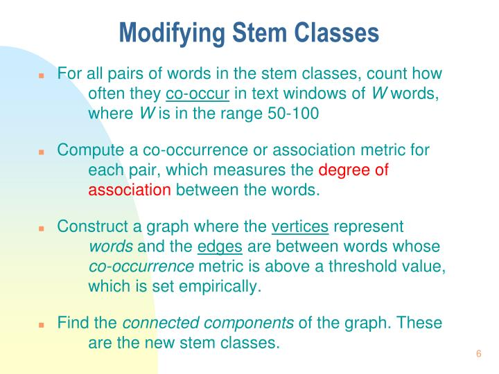 Modifying Stem Classes