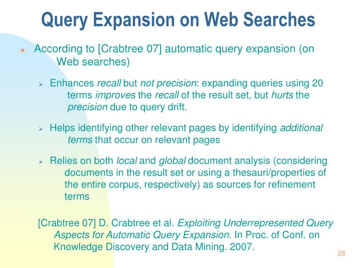 Query Expansion on Web Searches