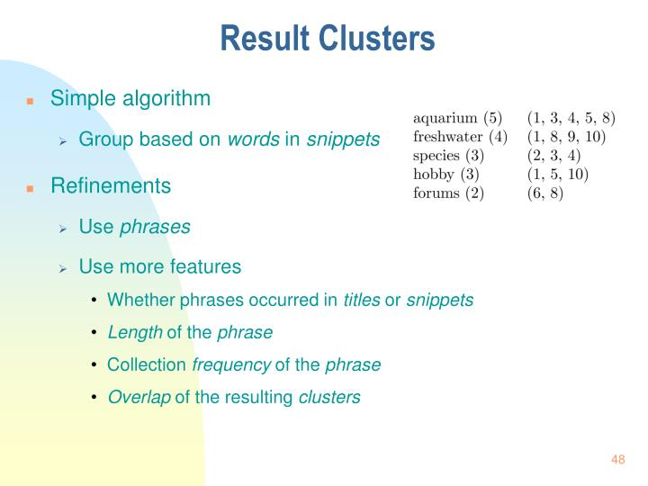 Result Clusters