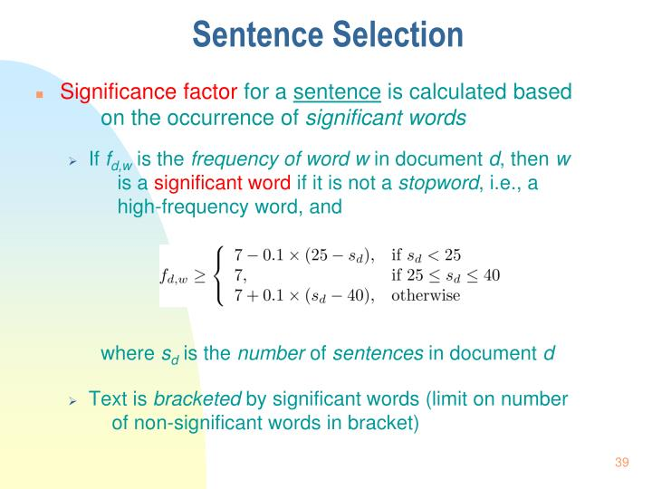 Sentence Selection