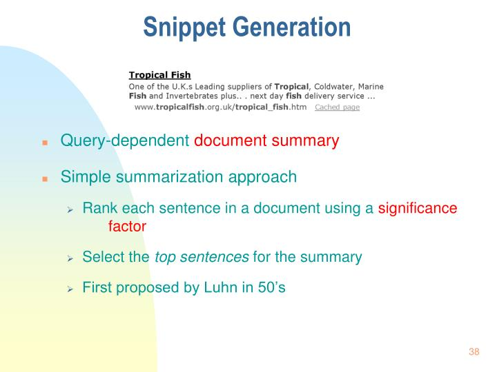 Snippet Generation