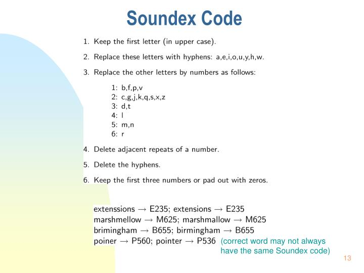 Soundex Code