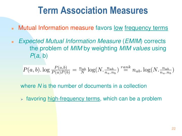 Term Association Measures