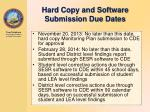hard copy and software submission due dates