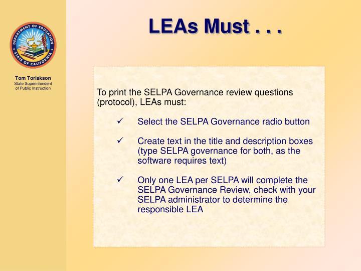 LEAs Must . . .