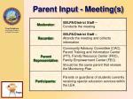 parent input meeting s
