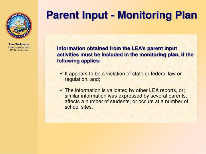 Parent Input - Monitoring Plan