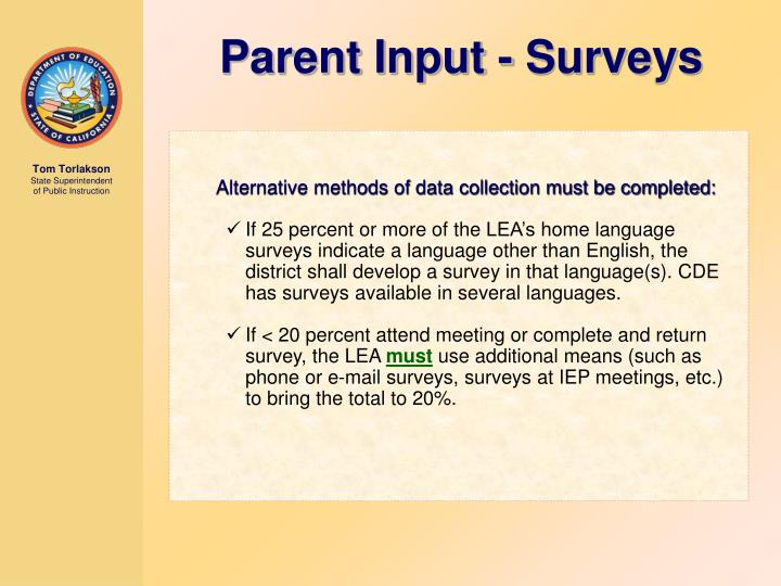 Parent Input - Surveys