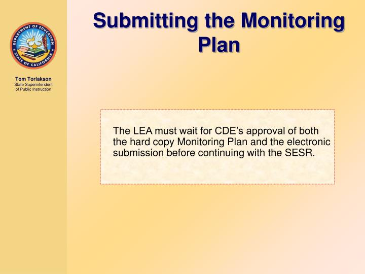 Submitting the Monitoring Plan