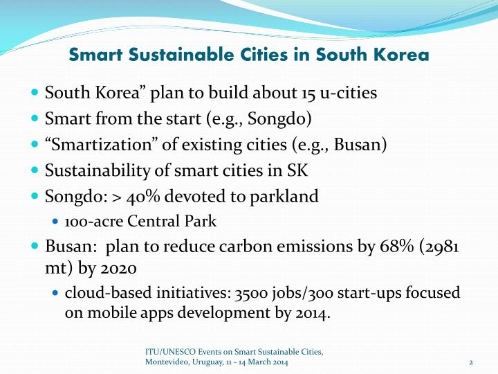 Smart sustainable cities in south korea