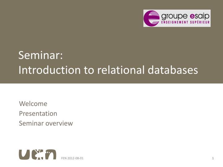 Seminar introduction to relational databases