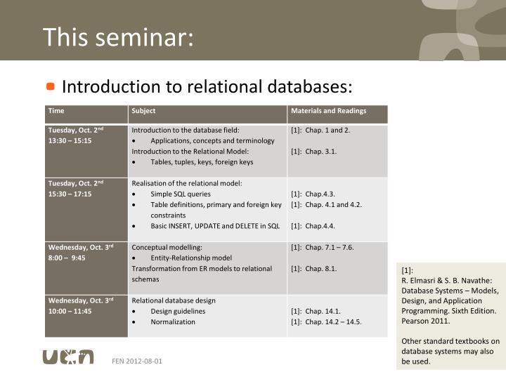 This seminar:
