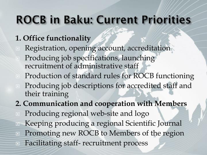 ROCB in Baku: Current Priorities