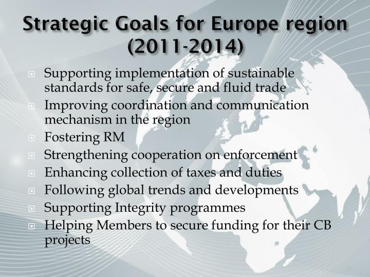 Strategic Goals for Europe region (2011-2014)