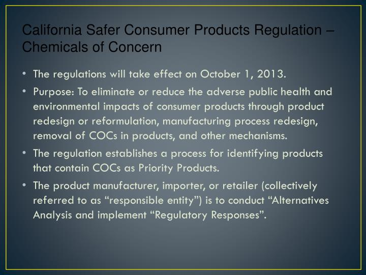 California Safer Consumer Products Regulation – Chemicals of Concern