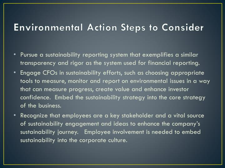 Environmental Action Steps to Consider