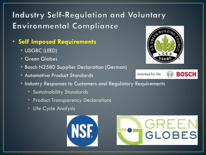 Industry Self-Regulation and Voluntary Environmental Compliance
