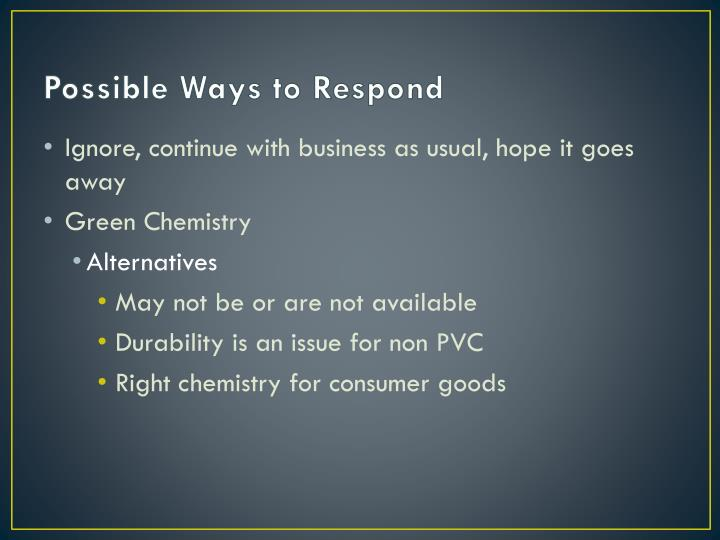 Possible Ways to