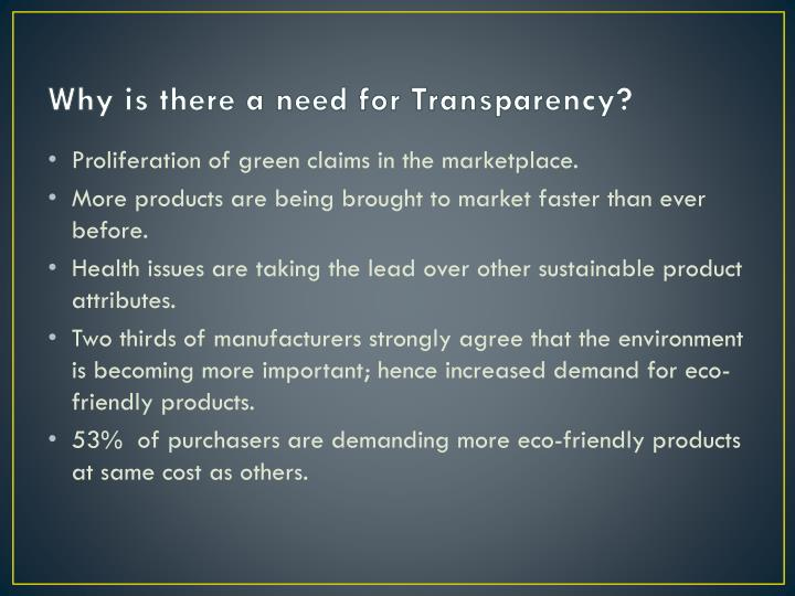 Why is there a need for Transparency?