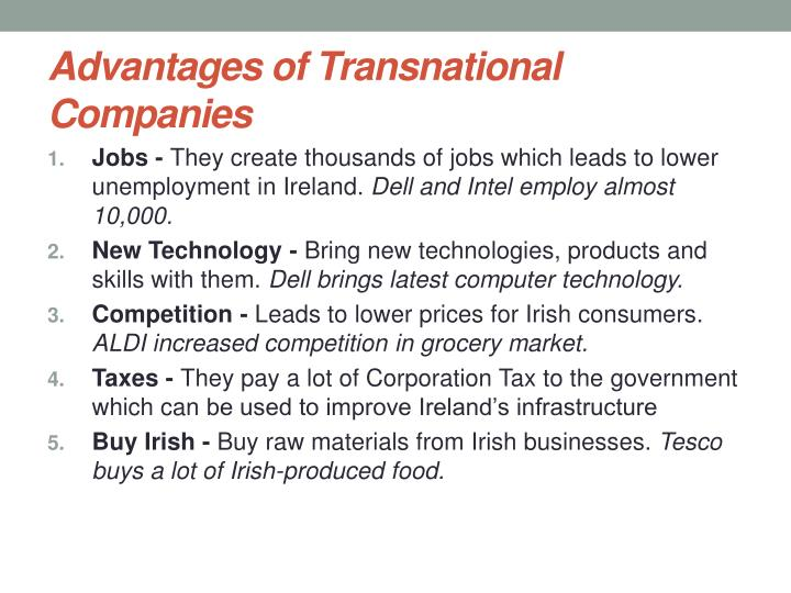 Advantages of Transnational Companies