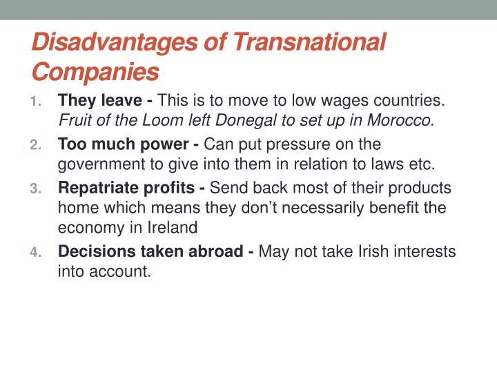 Disadvantages of Transnational Companies