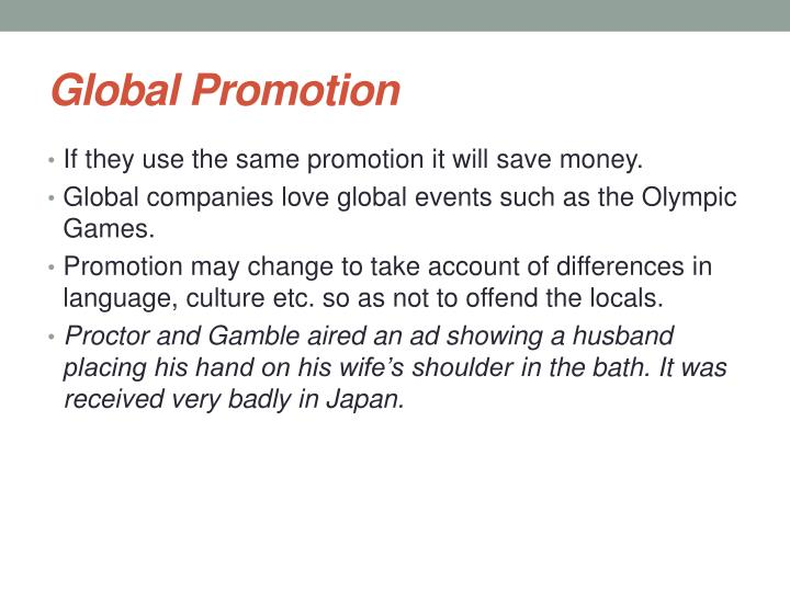 Global Promotion