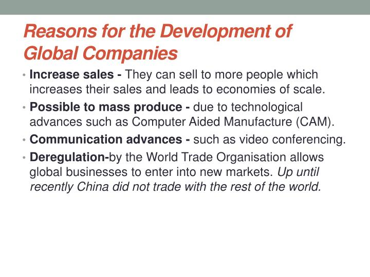 Reasons for the Development of Global Companies