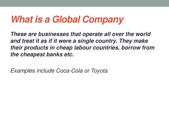 What is a Global Company