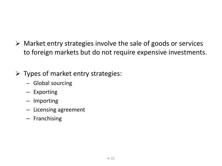 Market entry strategies involve the sale of goods or services to foreign markets but do not require expensive investments.